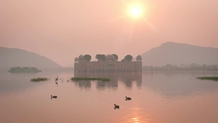 Wall Mural - Tranquil morning at Jal Mahal Water Palace at sunrise in Jaipur. Rajasthan, India