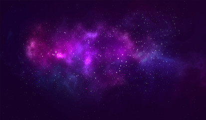 Vector cosmic illustration. Beautiful colorful space backdrop. Watercolor Cosmos background.