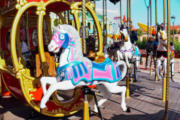 Kid attractions colorful carousel horse fun x