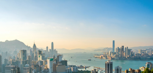 Poster de jardin Hong-Kong Skyscraper city Skyline, aerial of Hong Kong City