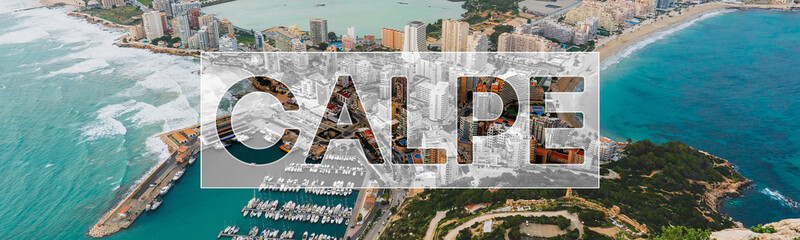 Alicante Calp Calpe Air View for Flyer, Banner, Webpage Top View, Stylish layout for Advertisment for tourist Werbung, Anzeigen