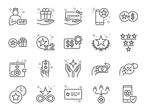 Royalty program line icon set. Included icons as member, VIP, exclusive, reward, voucher, high level and more.