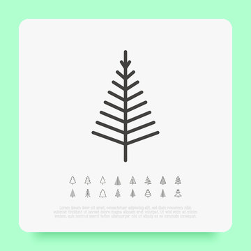 Christmas tree in different shapes. Minimalistic simple thin line icons. Vector illustration for greeting card, Christmas and New Year decoration.