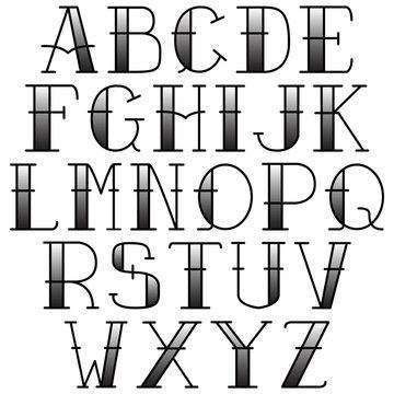 vector font tattoo old school