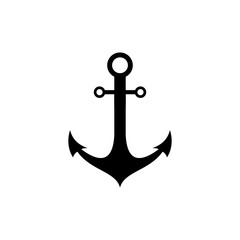Anchor icon on white background, Anchor symbol logo,Anchor marine icon.