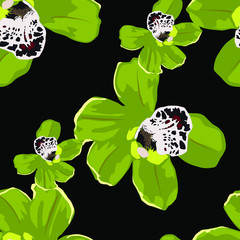 Seamless pattern with orchids on dark background. Abstract background texture.