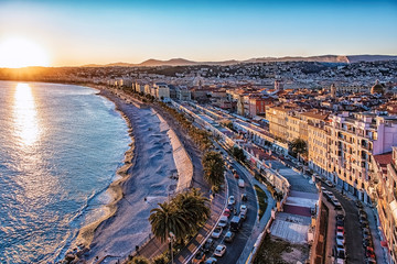 Tuinposter Nice City of Nice at sunset on the French Riviera