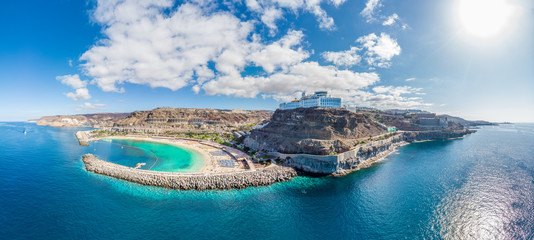 Amazing landscape with Amadores beach and coast on Gran Canaria, Spain