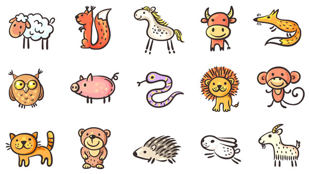 Set of small sketchy animals, vector clipart