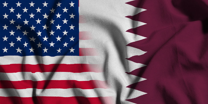 National flag of the United States with Qatar on a waving cotton texture background