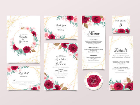 Wedding invitation card template suit with elegant flowers and gold decoration. Roses and leaves botanic illustration for background, save the date, invitation, greeting card, poster vector