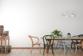 Mock up farmhouse dining room with wooden colored chairs and table. Minimalist design in white background. 3D illustration.