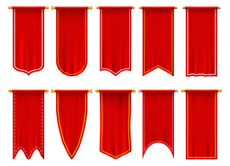 Vertical red flags or banners, 3d pennant