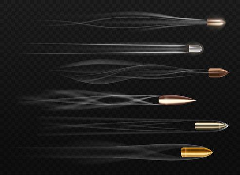 Set of bullets on transparent. Realistic gun trail