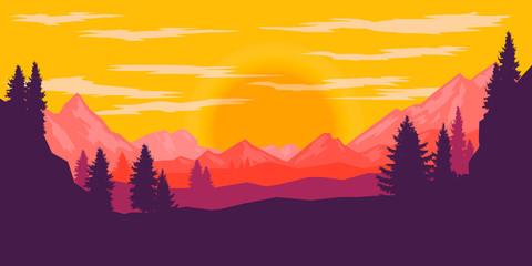 Keuken foto achterwand Rood Poster template with wild mountains landscape. Design element for banner, flyer, card. Vector illustration