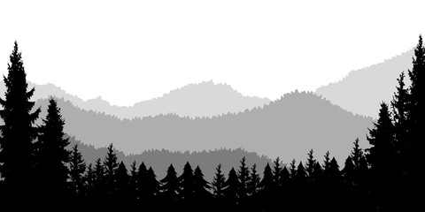 Photo sur Aluminium Noir Poster template with wild mountains landscape. Design element for banner, flyer, card. Vector illustration
