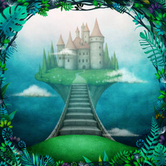 Conceptual magic background with  castle in the clouds on  small island