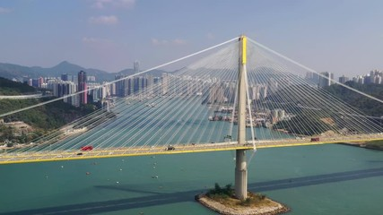 Wall Mural -  Drone fly over Ting Kau Bridge in Hong Kong