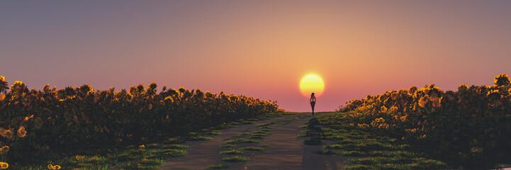 Fotorolgordijn Chocoladebruin woman and sunset