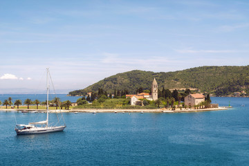Prirovo peninsula with Franciscan monastery, Vis Bay, Croatia