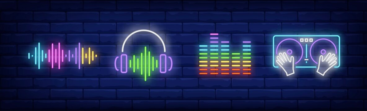 Sound technology neon sign set