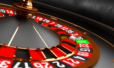 Luxury Casino roulette wheel on black background. Casino background theme. Close-up white casino roulette with a ball on zero. Poker game table. 3d rendering illustration.