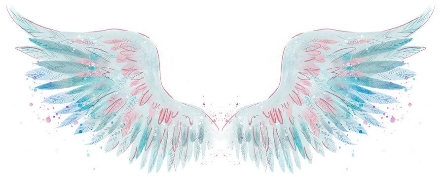Beautiful magic blue pink watercolor angel wings