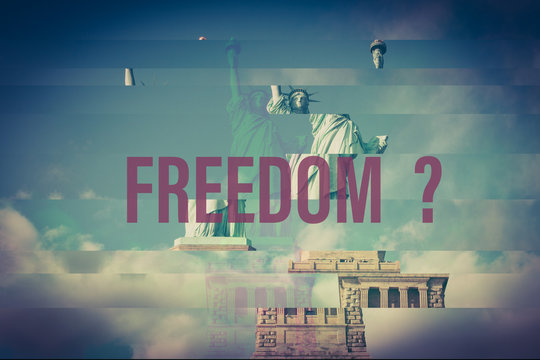 freedom interrogation text on glitch destroyed statue of liberty background photo