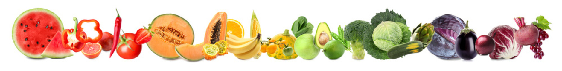 Fotorolgordijn Verse groenten Assortment of fresh vegetables with fruits on white background