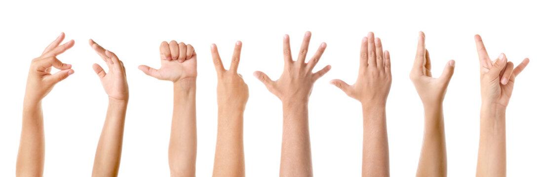 Gesturing children's hands on white background