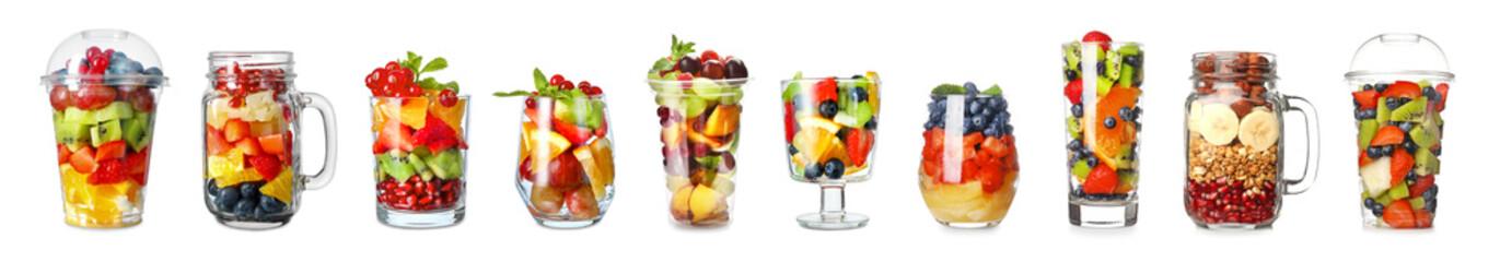 Set of tasty fruit salads on white background