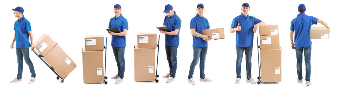 Delivery man with boxes on white background