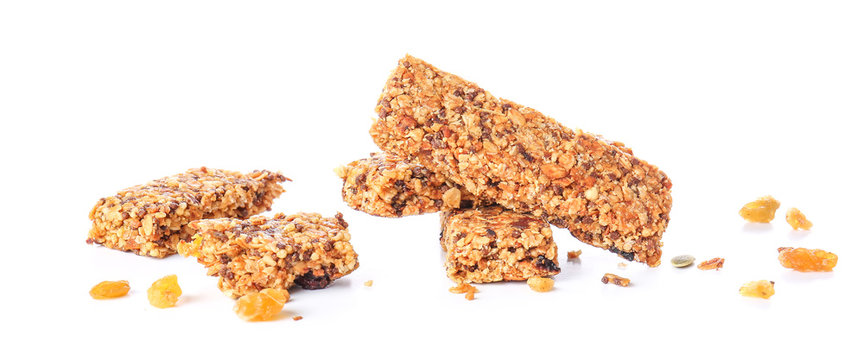 Tasty granola bars on white background