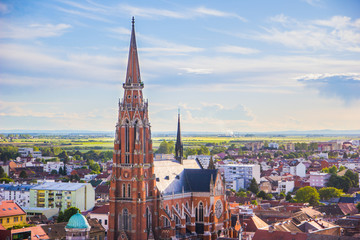 Garden Poster Eastern Europe Osijek / Croatia: 10th May 2019: Areal view on famous cathedral in Osijek