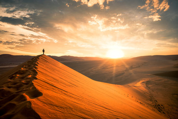 Aluminium Prints Morocco Dramatic sunrise in the Namibian desert