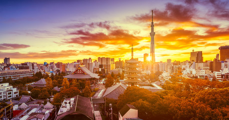 Spoed Fotobehang Ochtendgloren Dramatic sunrise of Tokyo skyline with Senso-ji Temple and Tokyo skytree in Japan