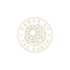Golden Moon Sun Mosaic Crystal for Astrology Astronomy Horoscope label logo design