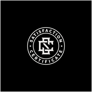 Initials Monogram SC CS Vintage Retro Stamp Label logo design