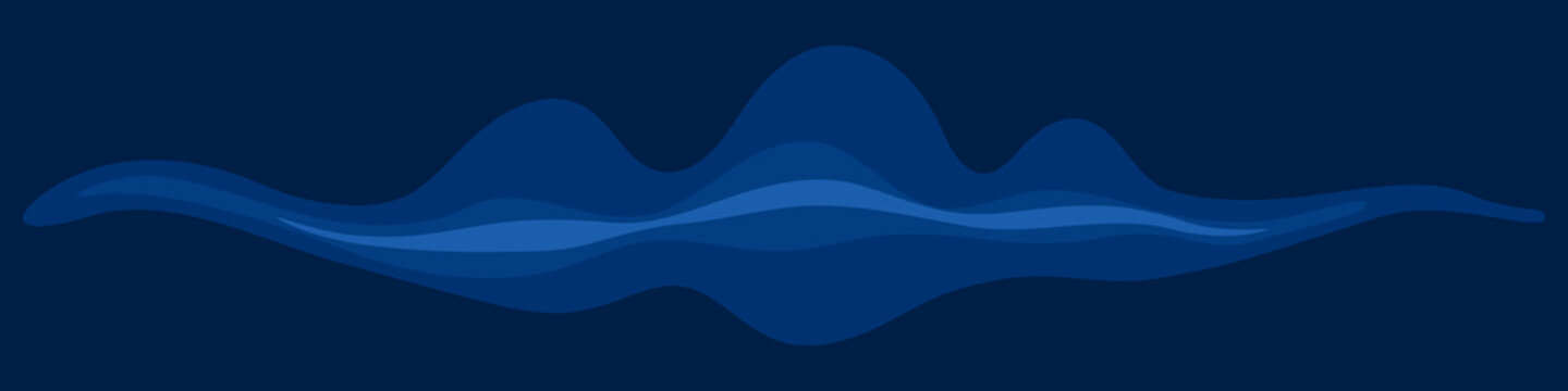 Dark abstract seamless banner with blue waves. Vector illustration.