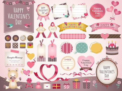 バレンタイン フレーム ハート チョコレート 贈り物 イラスト セット
