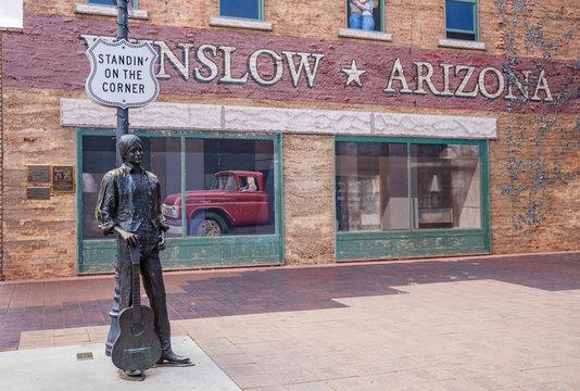 Standing on the corner statue, Winslow Arizona, USA.