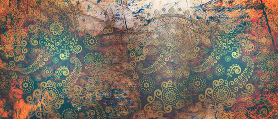 mandala colorful vintage art, ancient Indian vedic background design, old painting texture with...