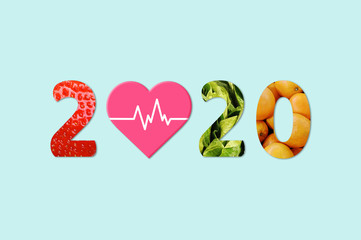 2020 Happy New Year for healthcare. fruit and vegetables which make 2020 number.