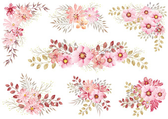 水彩風 花の素材セット