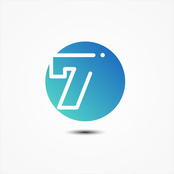 Vector round symbol number 7 design minimalist