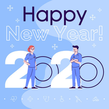 Profession social media post mockup. Happy new year 2020 phrase. Web banner design template. Health workers. Surgeons booster, content layout with inscription. Poster, print ads and flat illustration