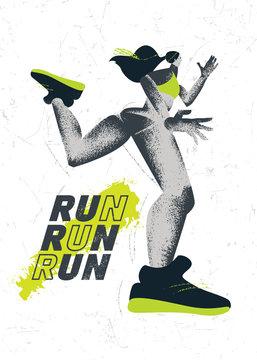 Inspiring Running Typography Motivation Print With Girl Illustration