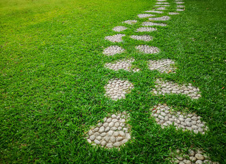 Curve pattern walkway of gravel stepping stone on fresh green grass yard, smooth carpet lawn in the public park