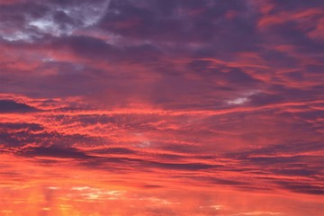 Poster Crimson Red sky at sunset, gray clouds.
