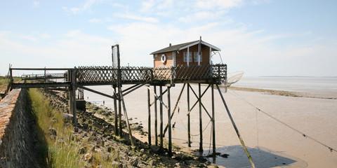 wooden fishing hut on Pilelets pilot france near Bordeaux Medoc in web banner template header Wall mural